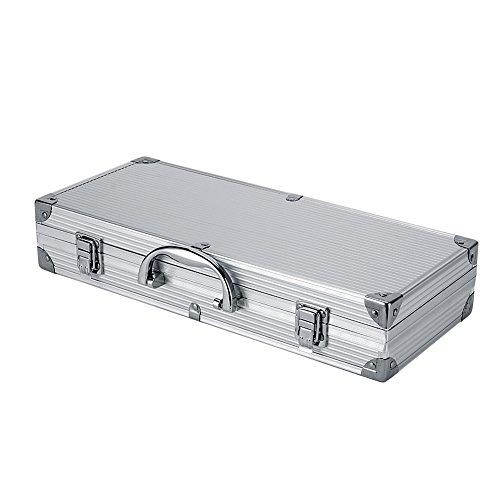 41M4%2BFL%2BebL - Dazone® Grillbesteck-Set 6-teilig im Aluminium-Koffer BBQ Grill-Utensilien Edelstahl Profi Besteck Zubehör fürs Grillen
