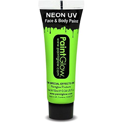 be Schwarzlicht Schminke Gesichtsfarbe 10 ml grün Neon Bodypaint Farbe fluoreszierende Neonfarbe (Uv-bodypaint)