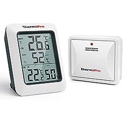 ThermoPro TP60S Hygromètre Numérique Thermomètre Intérieur Extérieur Moniteur D'humidité avec Indicateur de Température sans Fil avec Une Portée de 60M