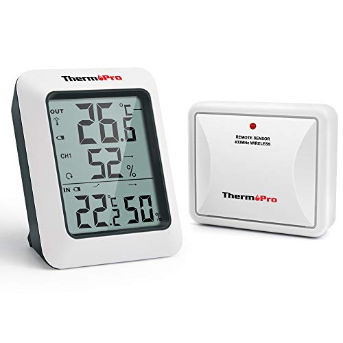 ThermoPro TP60S Termómetro Higrometro Digital para Interior y Exterior Termohigrómetro Inalámbrica...