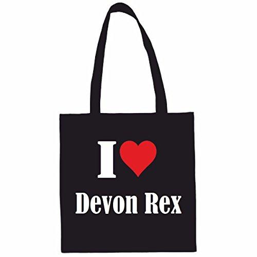 Sac à Bandoulière I Love Devon Rex Shopping Bag Sac d'école Sac de Sport 38x 42cm en Noir ou Blanc.. Le cadeau parfait pour votre amoureux