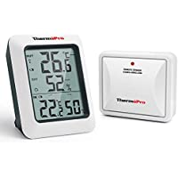 ThermoPro TP60S Digital Wireless Remote Thermo-hygrometer, Indoor Outdoor Thermometer Hygrometer, Humidity Monitor and Temperature Gauge Meter, 200 Feet Range