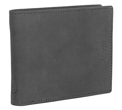 BUGATTI Echtleder Herren Portemonnaie im Querformat, Hochwertige Brieftasche mit Klappfach aus echtem Leder (Schwarz) (Brieftasche Schwarze Herren)