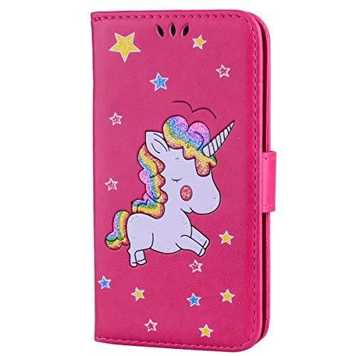 CXTcase Custodia Samsung Galaxy S5 / S5 Neo Unicorno Pelle Libro Copertura Shell Supporto Stand Porta Portafoglio Flip Wallet Cover Chiusura Magnetica Proteggi Caso Rosa