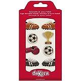 dekora Cupcakes o Tartas con Decoración de Azucar para Postres de Futbol-Pack de 8 Figuras Comestibles, Multicolor, Talla Úni