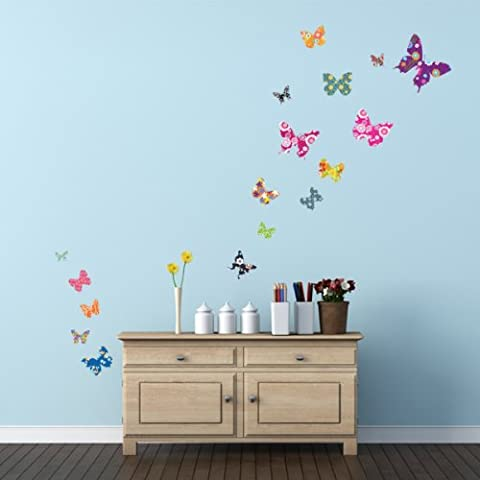 Decowall DW-1201A 17 Colorate Farfalle Wall Stickers