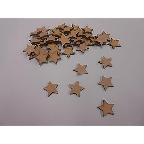 30 mm, estrellas de madera DM en blanco para decoración, 50 unidades