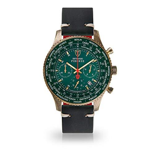 DETOMASO Firenze XXL Herren-Armbanduhr Chronograph Analog Quarz Antique Brass farbenes Edelstahlgehäuse grünes Zifferblatt (Leder - Schwarz (Vintage Style))