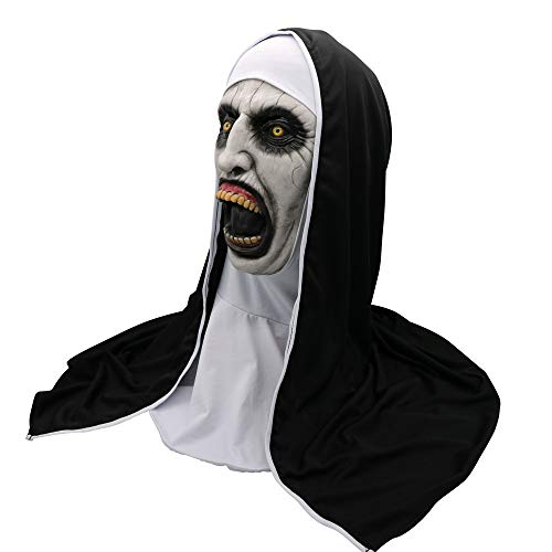 Liqiqi Horrible Nun Mask Scary Cosplay Prank Latex Melting Face Full Head Helmet for Adults Halloween Party Costume Props Creepy