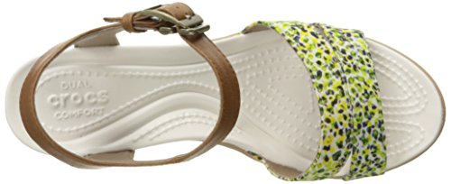 Crocs Womens Leigh II Ankle Strap Wedge Hazelnut/Gold