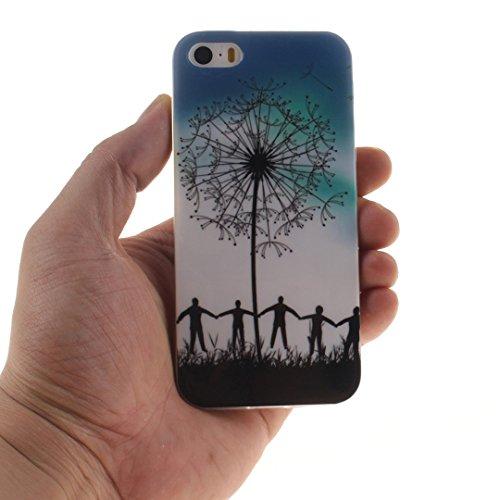 Xf-fly® iPhone SE / 5 / 5S Hülle mit TPU Silikon Material und Retro Farblich Muster Schutzhülle Handytasche für Apple iPhone SE / 5 / 5S(4.0 Zoll) P-17