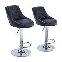 Tuff Concepts Set of 2 Bar Stools Chrome Faux Leather Kitchen Pub Barstool Breakfast Bar Chair (Black)