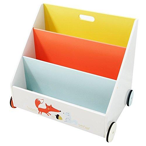 Labebe - Stabiles und bewegliches Kinder Bücherregal/Spielzeugregal aus Holz mit drei Fächern und Rollen (Weiß) 60x43x55 cm
