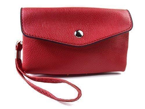 NUOVO DONNE RAGAZZE S borsa borsetta con chiusura a scatto PORTAFOGLIO bag portamonete credito porta carte Cinturino da polso Rosso