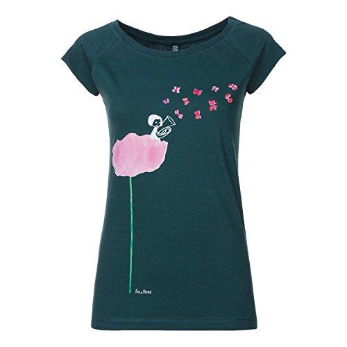 La La Cap Sleeve T-shirt (FellHerz Tubamädchen Cap Sleeve deepteal aus 100% Biobaumwolle hergestellt, Größe:L)