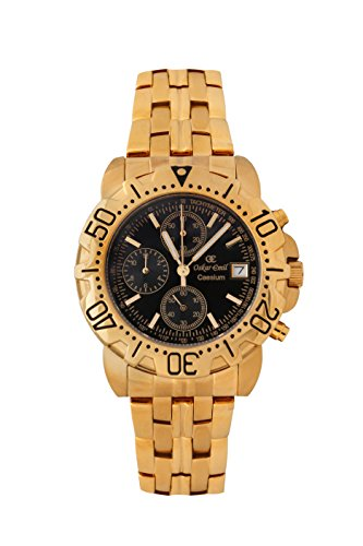 Oskar-Emil Classic Chrongraph Caesium 1119G Men's Quartz Watch with Black Dial Analogue Display and Stainless Steel Gold Plated Bracelet