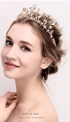 Corona da Sposa- con foglie e delicati fiori oro lavorati a mano, perle e punti luce- 100% Handmade