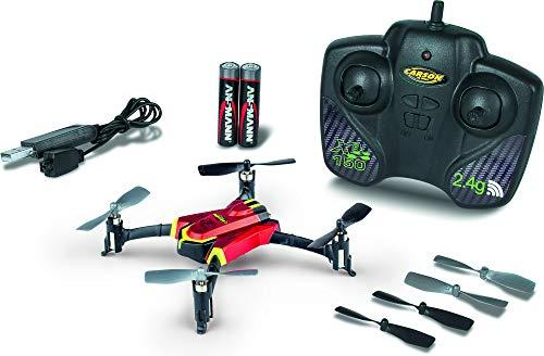 CARSON 500507131 - X4 Quadcopter 150 Sport 2.4G 100% RTF Rot, Ferngesteuerte Flugmodelle, Flugfertiges Modell, LED, mit Stuntfunktion, inkl. Batterien und 2,4 GHz Fernsteuerung, 100% flugfertig -