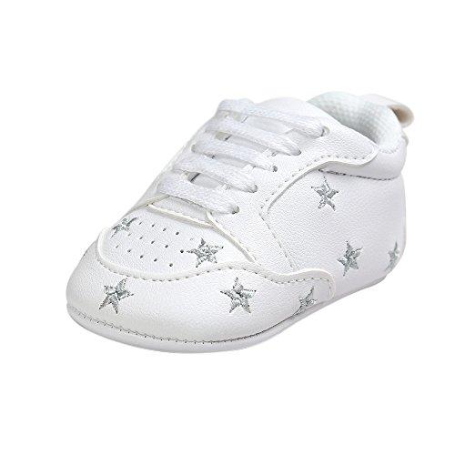 ESTAMICO Kleinkind Baby Jungen Weiche Leder Weiße Turnschuhe Silberne Sterne 0-6 Monate