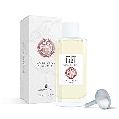 Fiilit Parfum Du Voyage - Recharge 50 ml Eau De Parfum Cuba 19°9'N Avec Entonnoir