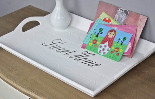 elbmöbel 52 x 35cm Holz-Tablett in weiß rechteckig, Sweet Home Aufdruck, Griffe und erhöhter Rand