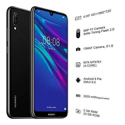 Huawei Y6 2019 32 GB 6.09 inch FullView Dewdrop Display Smartphone with 13 MP  Camera, Android 9.0 Sim-Free Mobile Phone, UK Version, Midnight Black Img 1 Zoom