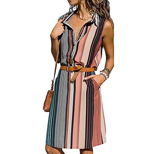 CAOQAO Lose Mode BeiläUfig äRmelloses V-Ausschnitt Button Down Pocket Lose Hemd Midi-Kleid Mit GüRtel(Rosa,L)
