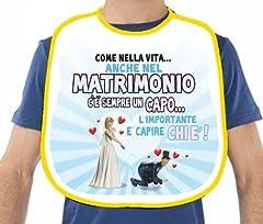 Idea Regalo - La BAVAGLIA bavaglione dell'ADDIO al CELIBATO - idea scherzo gaget per festa del futuro SPOSO - ultima sera da SINGLE