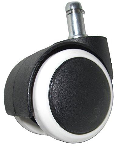 GIOSEDIO 5x Hartbodenrollen für Bürostuhl Stift 11 mm / Rolle 50 mm Drehstuhl Rollen für Hartböden mit leichtgängiger weicher Lauffläche Weiß (Mit Bürostühle Rollen)