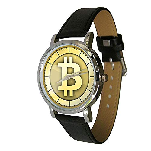 Your Watch Design Unisex Uhr. Erwachsenengröße. Analog Quarz mit Leder Armband, Bitcoin