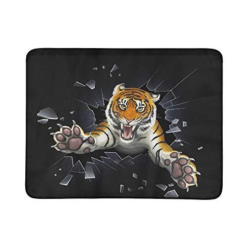 KAOROU Tiger springen durch Glas tragbare und Faltbare Decke Matte 60x78 Zoll handliche Matte für Camping Picknick Strand Indoor Outdoor Reise -