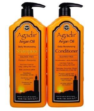 Agadir Argan Oil Daily Moisturizing Shampoo and Conditioner Liter Combo Set 33.8 oz by Agadir