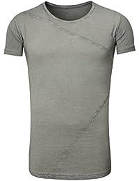 Akito Tanaka Herren Longshirt Oversized T-Shirt ZIG ZAG vintage used Look  asymmetrisch round tiefer c9e5136709
