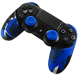 DOTBUY 1 x PS4 dicker Hälfte Silikon Schutzhülle Sleeve + 2 Analog Cups Silikon Thumb Grips für Sony PlayStation 4 Controller – Bundle