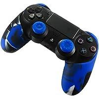 DOTBUY Silicone Case Denso Metà Custodia Protettiva per PS4 x 1 + 2 Controller analogico puntina manopole Cap (Camo Blue)