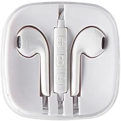eTGA Auriculares con Micrófono Y Mando a Distancia Para Apple Android Windows Y Todos Los Dispositivos De Color Blanco