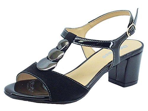 Sandali Melluso eleganti in camoscio e vernice nera (Taglia 38)