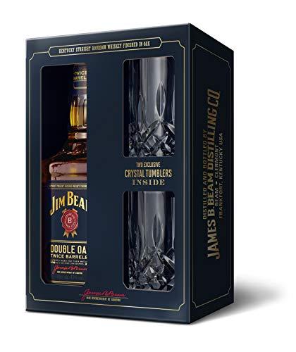Jim Beam Double Oak Whiskey Geschenkset mit 2 Tumblern Bourbon Whiskey (1 x 0.7 l)
