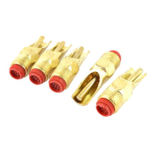 sourcingmap Metall 1/2PT Stecker Pig Nippel Waterer Trinken Spender Gold-ton 5er Pack (Gold-ton-filter)