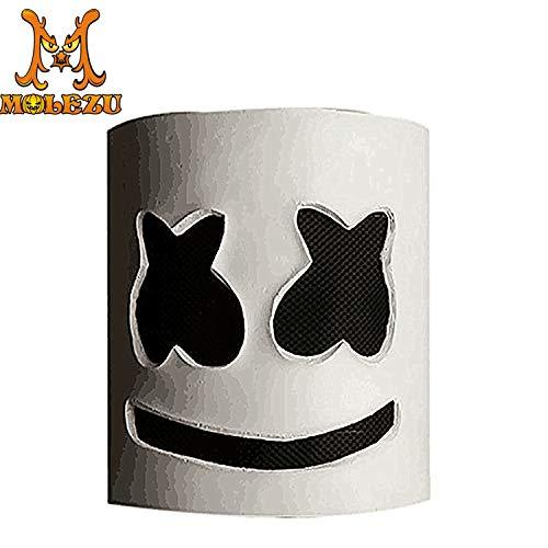 YWJ DJ Marshmello Helm Maske, für Musik Festival Halloween Maske Requisiten Vollkopf Maske Halloween Kostüme Cosplay Maske,1 (Musik Killer-halloween-party In)