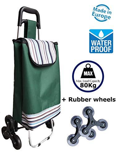 TAVALAX Tris Floral Einkaufstrolley & Treppensteiger - Einkaufswagen - Einkaufsroller - Climb Cart (Deluxe Green)