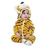 Grenouillères Bébé, Morwind Fille Garçon Petit Animal Capuche Super Doux Vêtements Rompers avec Chapeau Jumpsuits à Manches Longues (80, Tiger)