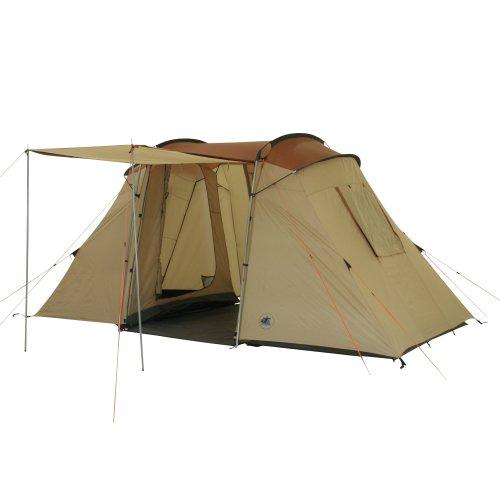 10T Outdoor Equipment 10T1751-4260181760438 Zelt Delano Wood 4 Mann Tunnelzelt Campingzelt Familienzelt Stehhöhe Vorraum wasserdicht 5000mm, Beige Braun Personen-445x225x200 cm