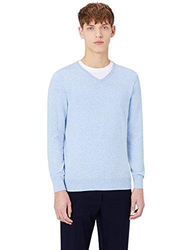 MERAKI Baumwoll-Pullover Herren mit V-Ausschnitt, Blau (Ocean Blue), X-Large (Blue Bekleidung Ocean)