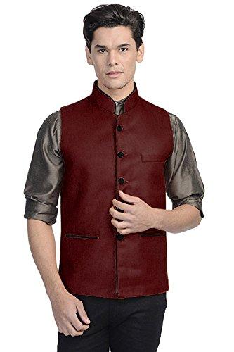 Vastraa Fusion Men's Blended Bandhgala Festive Maroon Nehru Jacket / Waistcoat