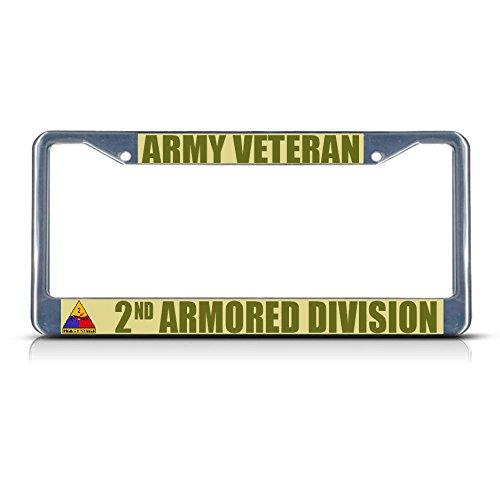 Imagen de marco de matrícula de metal con diseño de ejército, 2 nd, dos agujeros, ideal para hombres y mujeres, decoración de la garadería del coche