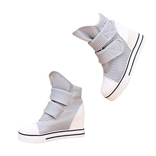 jeansian Moda Donna Casuale Tela Piattaforma Incunearsi Scarpe da Ginnastica Wedge Sneakers WSB051 Gray 37