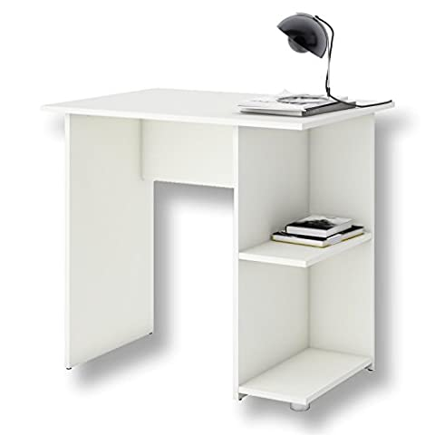 Schreibtisch Computertisch Kinderschreibtisch KUBA in weiß, mit 2 Ablageflächen, 82 x 76 x 60 cm,