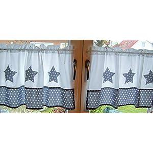 Gardinen Set, 2 Teile, Baumwolle,Sterngardine, Gardine mit Stern Muster handmade