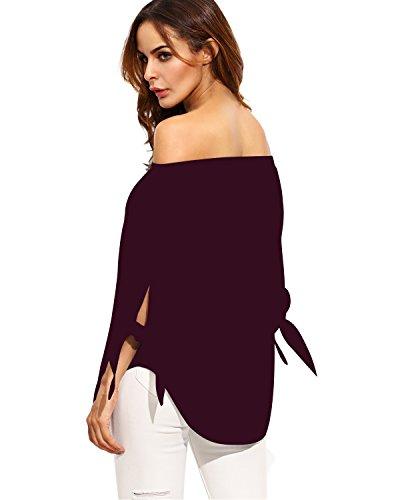 StyleDome Donna Camicetta Maglietta Manica Lunga Blusa Sexy Casual Ufficio Bordeaux Puro